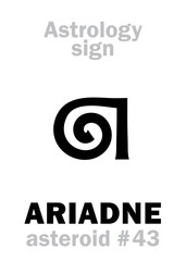 Astrology Alphabet: ARIADNE, asteroid #43. Hieroglyphics character sign (single symbol).
