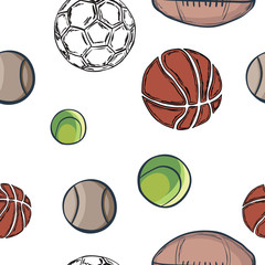 Balls seamless pattern in hand drawn style
