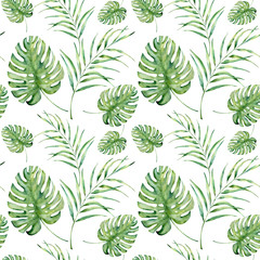 Watercolor tropical pattern with monstera and palm leaves. Hand painted floral ornament with exotic plant branch isolated on white background. For design, fabric or background.