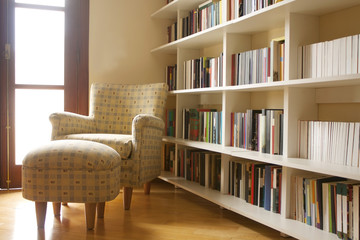 Home library with arm chair. Clean and modern decoration.