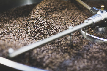 Coffee beans and roaster