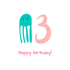Happy birthday card with jellyfish in hand drawn style