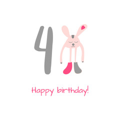 Happy birthday card with rabbit in hand drawn style