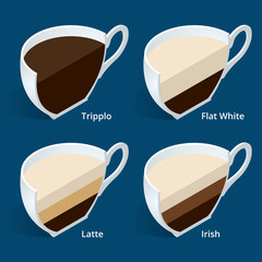 Four isometric cups of coffee in a cut Tripplo, Flat White, Latte, Irish. Coffee collection isolated on blue. Perfect for menu. Different coffee drinks.