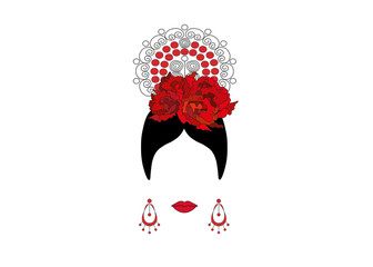 Portrait of modern Latin or Spanish woman, Lady with accessories peineta and red flower , Icon isolated, Vector illustration transparent background