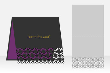 Card geometric pattern laser cutting. Silhouette design. possible to use for birthday invitations, presentations, greetings, holidays, celebrations, save the date wedding. Vector.
