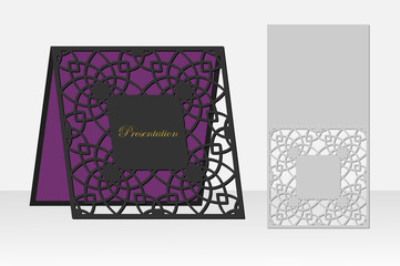 Card repeating geometric pattern laser cutting. Silhouette design. possible to use for birthday invitations, presentations, greetings, holidays, celebrations, save the date wedding. Vector.