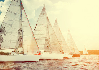 Sailing yacht race, regatta. Recreational Water Sports, Extreme Sport Action. Healthy Active Lifestyle. Summer Fun Adventure. Hobby.