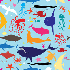 Seamless multicolored marine pattern