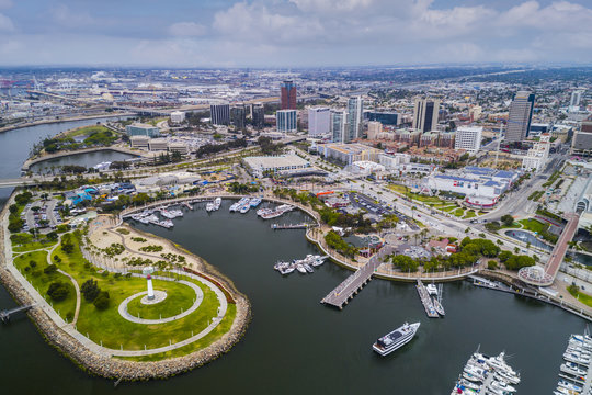 Aerial view of Long Beach Pike, California