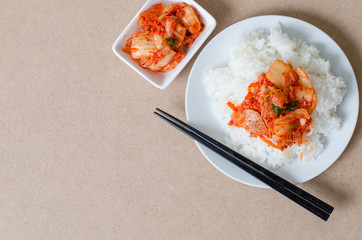 Rice with kimchi cabbage ready to eating,Healthy Korean food