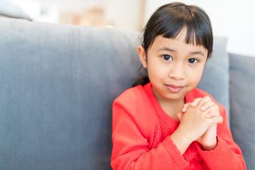 Cute girl pray