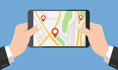 Flat design style human hand  holding smartphone or tablet with map app on the screen , vector design element illustration
