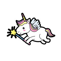 beauty unicorn with wings and magic wand