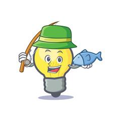 Fishing light bulb character cartoon