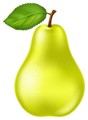 Fresh and ripe yellow green pear with green leaf. Vector illustration.
