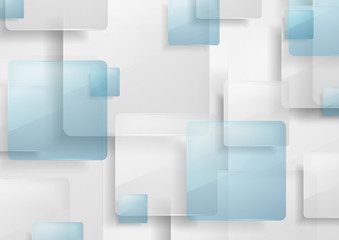Blue and grey glossy squares abstract background