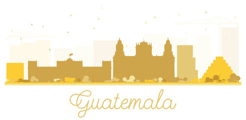 Guatemala City skyline golden silhouette.