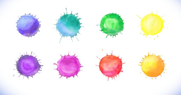 Watercolor vector blobs set. Colorful paint drops texture.
