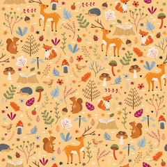 Autumn Forest Pattern Seamless Print