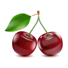 Two ripe red cherry berries with leaf