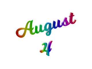 August 4 Date Of Month Calendar, Calligraphic 3D Rendered Text Illustration Colored With RGB Rainbow Gradient, Isolated On White Background