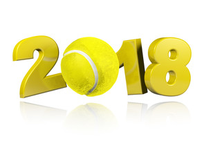 Tennis 2018 Design with a white Background
