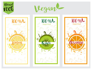 Fresh fruit labels set, packaging in vector