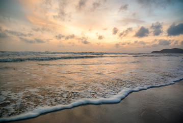 Sunset on the beach orange blue red