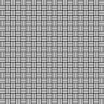 Vector seamless weave pattern. Rattan texture. Black-and-white background. Monochrome design. Vector EPS10