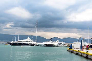 Luxury yachts at the dock. Marina Zeas, Piraeus,Greece