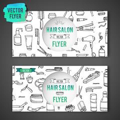 Hand drawn doodle Hair salon icons set. Vector illustration. Barber symbols collection Flyer template Cartoon hairdressing equipment element: shampoo mask hair die scissors iron curlers dryer razor