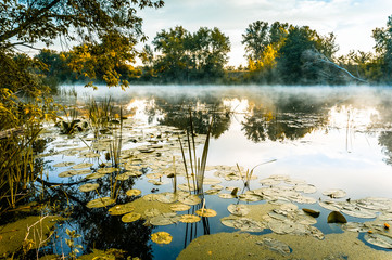 A magnificent sunrise on a river with a mist over the water