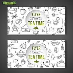 Hand drawn doodle Tea time icon set. Vector illustration. Isolated drink symbols collection. Cartoon poster template beverage element: mug cup teapot leaf bag spice plate mint, herbal, sugar, lemon.