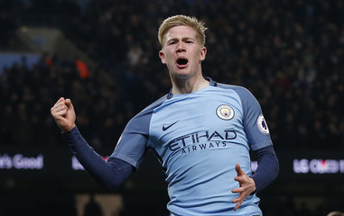 Manchester City's Kevin De Bruyne celebrates scoring their second goal