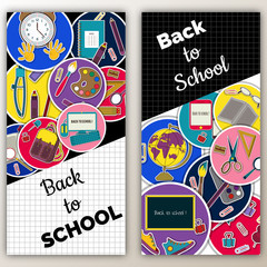 Set  Multi colored banner. Marketing Sale background with school stationery . Modern poster. stationery and school supplies
