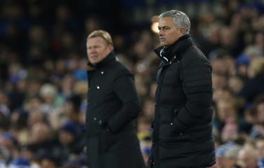 Everton manager Ronald Koeman and Manchester United manager Jose Mourinho