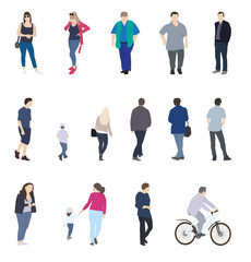 Set of Silhouette Walking People and Children. Vector Illustrati