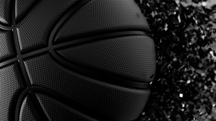 Basketball and Particles. 3D illustration. 3D high quality rendering.