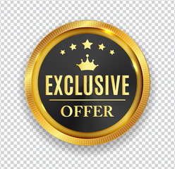Exclusive Offer Golden Medal Icon Seal  Sign Isolated on White B