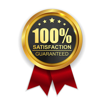 100% Satisfaction Guaranteed Golden Medal Label Icon Seal  Sign