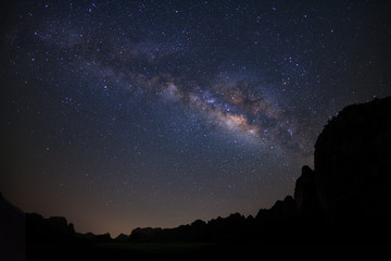 Landscape milky way galaxy over moutain, Night sky with stars