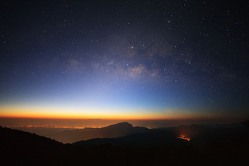 Milky Way Galaxy with light city before sunrise at Doi inthanon Chiang mai, Thailand.