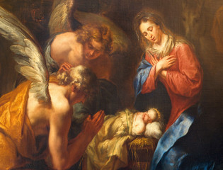 ANTWERP, BELGIUM - SEPTEMBER 5,2013: Detail of Nativity paint by Kasper van Opstal (1660 - 1714) in St. Charles Borromeo church.
