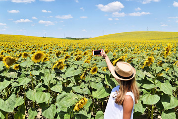 Smiling girl taking selfie with smartphone in a sunflower field