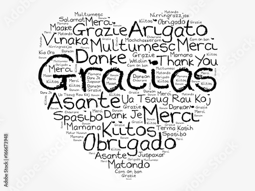gracias thank you in spanish love heart word cloud all languages