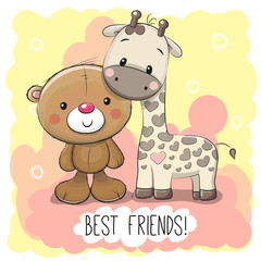 Cute Cartoon Bear and Giraffe