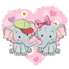 Two Cute Cartoon Elephants