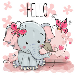 Cute cartoon Elephant with bird