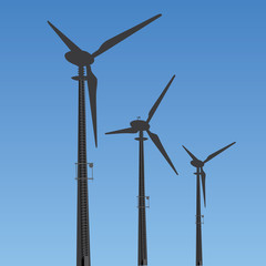 Vector Wind Turbines Silhouette Against The Sky